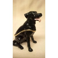 JULIANA TREASURED TRINKETS BLACK LABRADOR METAL TRINKET BOX