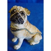 JULIANA TREASURED TRINKETS PUG DOG TRINKET BOX