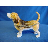 JULIANA TREASURED TRINKETS BEAGLE DOG METAL TRINKET BOX